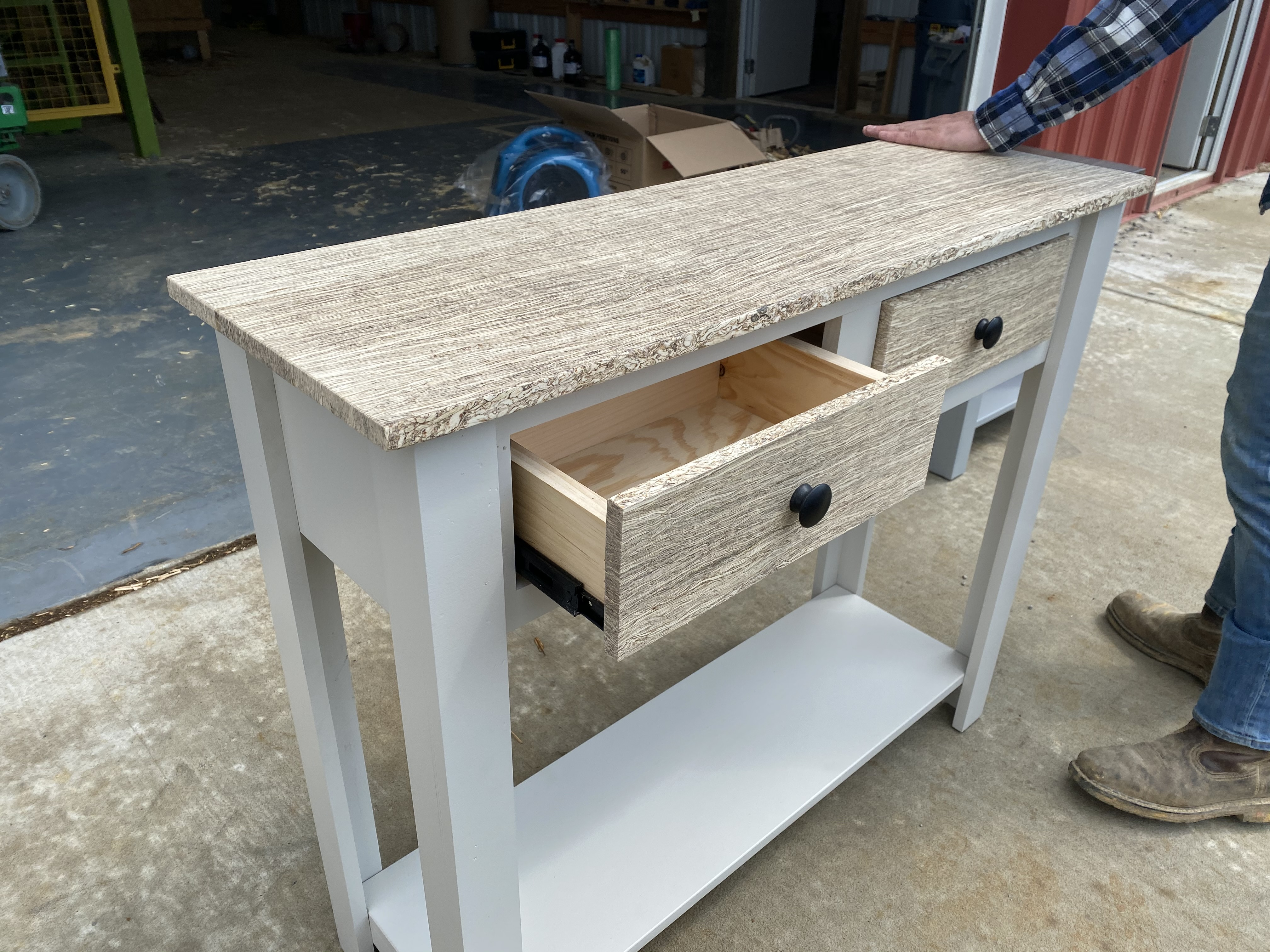 open drawer on table