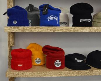 hemp shelf with hats on it